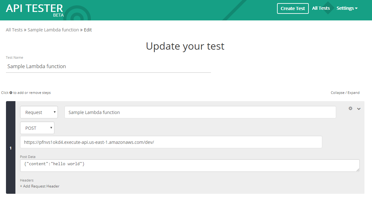 Creating a new test in API Tester