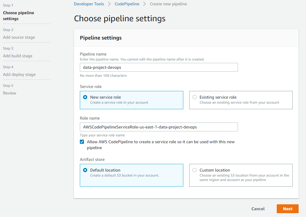 AWS CodePipeline initial configuration
