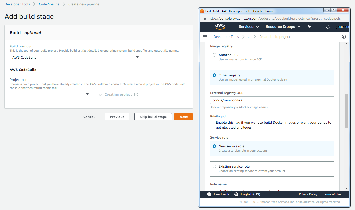Specify a custom Docker image for build server